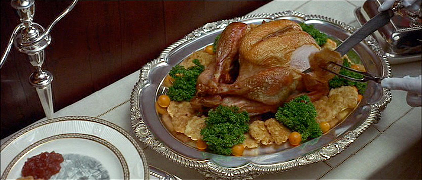 "(from the novel) ""…then a young broiled turkey with corn fritters…"""