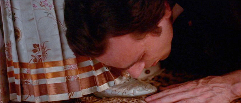 (above) I included this still not because of the over-the-top romantic gesture — which by the way is faithful to the novel — but because of the gorgeous satin slipper. Sadly, we are never allowed to see the entire shoe.