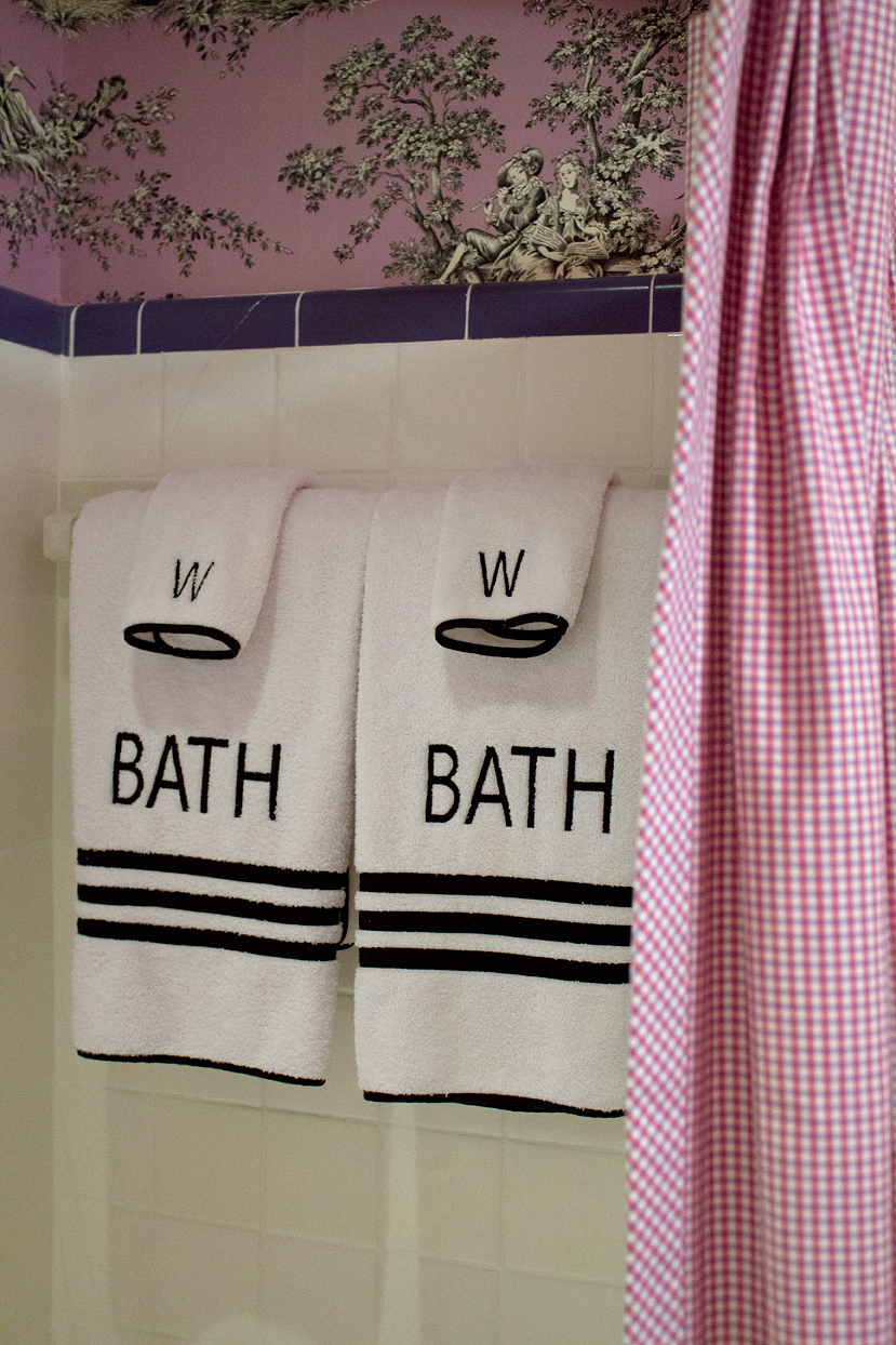 New and freshly laundered towels in my home's original bathroom.