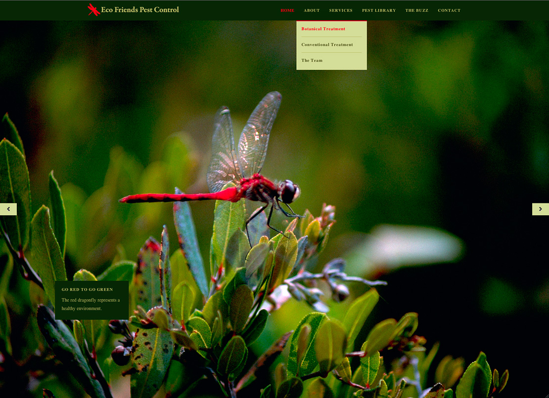 The homepage for Eco Friends Pest Control with a supersized slideshow.