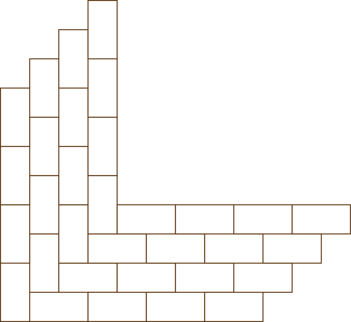 (above) For each step and the frame on the top level, the corner is set in a herring-bone bond, while the rest of the bricks continue away from the corner in a stretcher design.