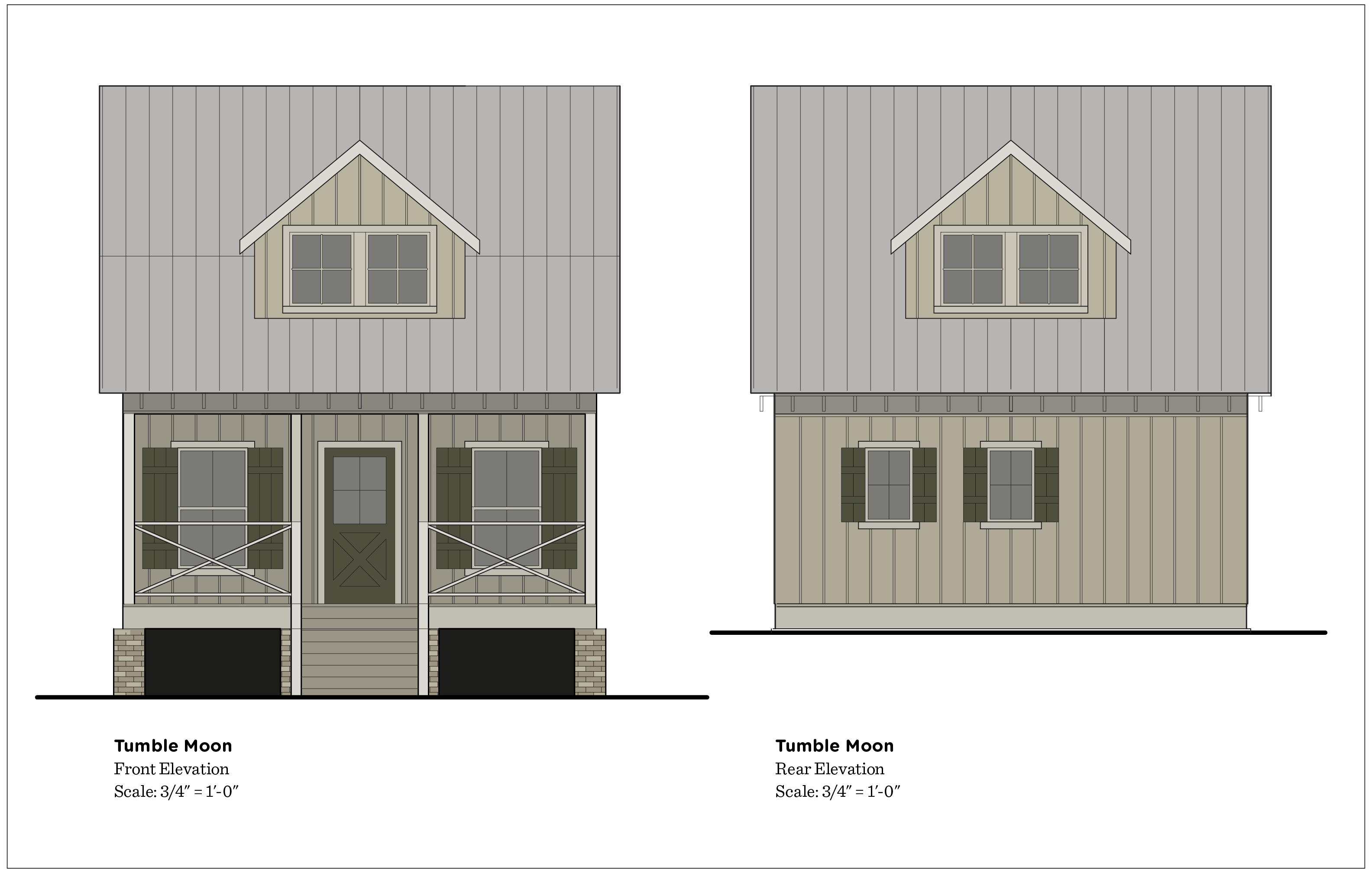 Paint colors have not been picked for the house, but I felt these drawings could use some pizzazz. The back elevation has changed. The back door has been moved around to the side, and there are now two windows.