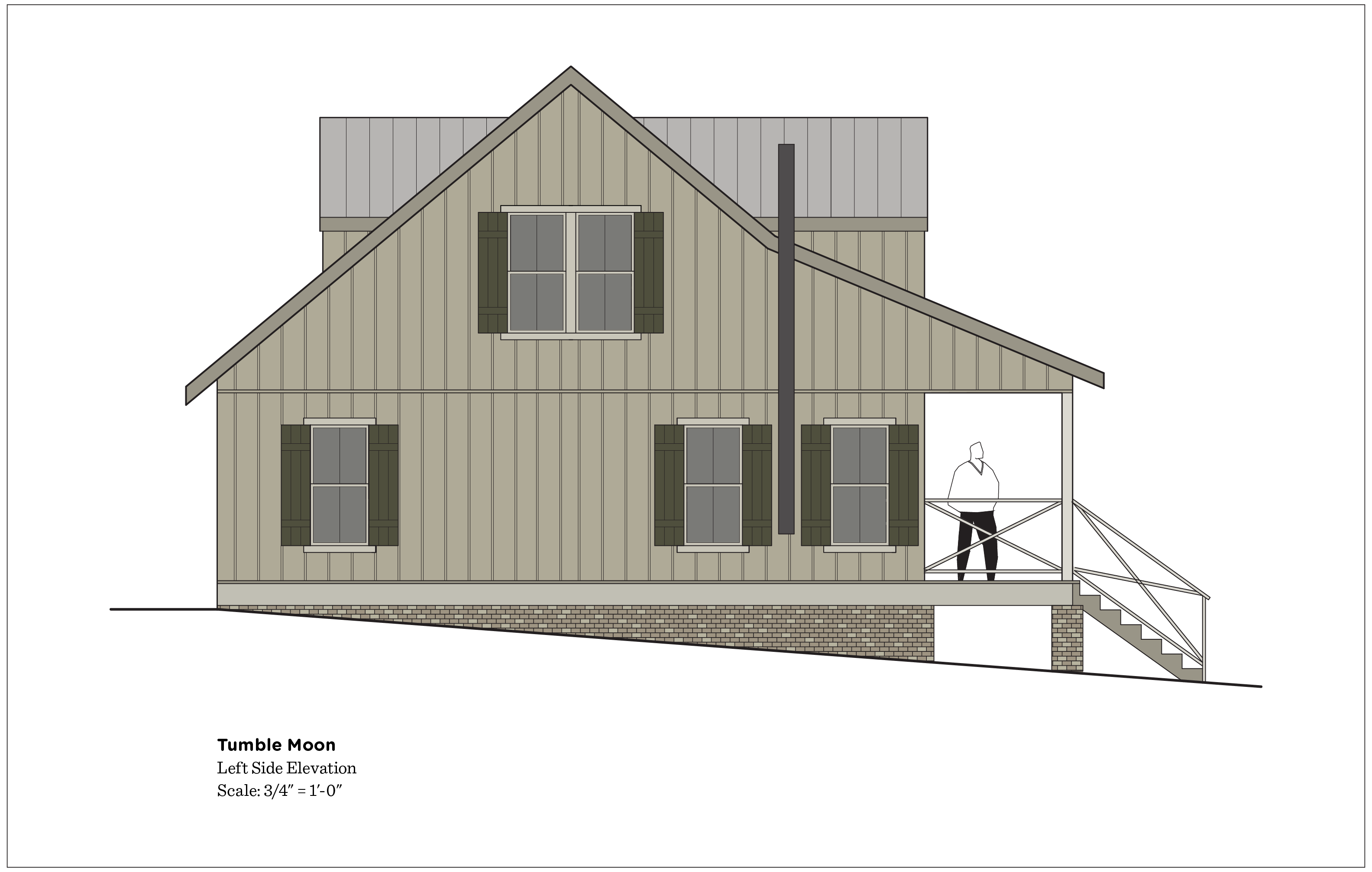 (above) This elevation has also changed. The chimney pipe for the wood burning stove has been added, and the second floor window has doubled in width, because the view from here is magnificent.