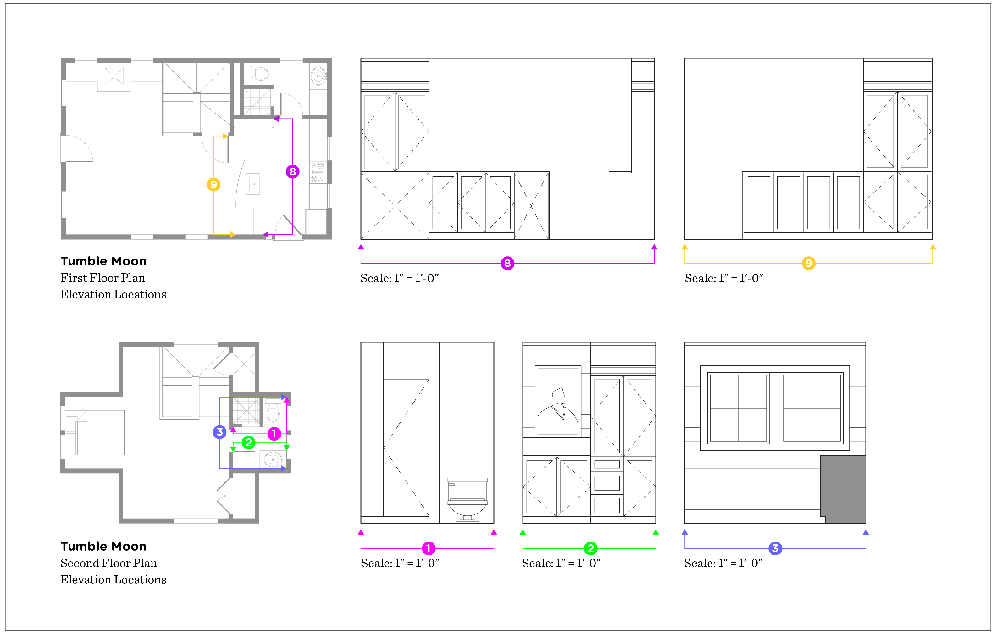 (above) Dot 8's elevation shows an empty space under the cabinets (far lower left). This little nook is where my dogs' bed will be. Elevations 1, 2, and 3 on the second floor do not show the correct ceiling height. With all the different gable pitches, it's hard to depict, but will be addressed correctly in the CDs.