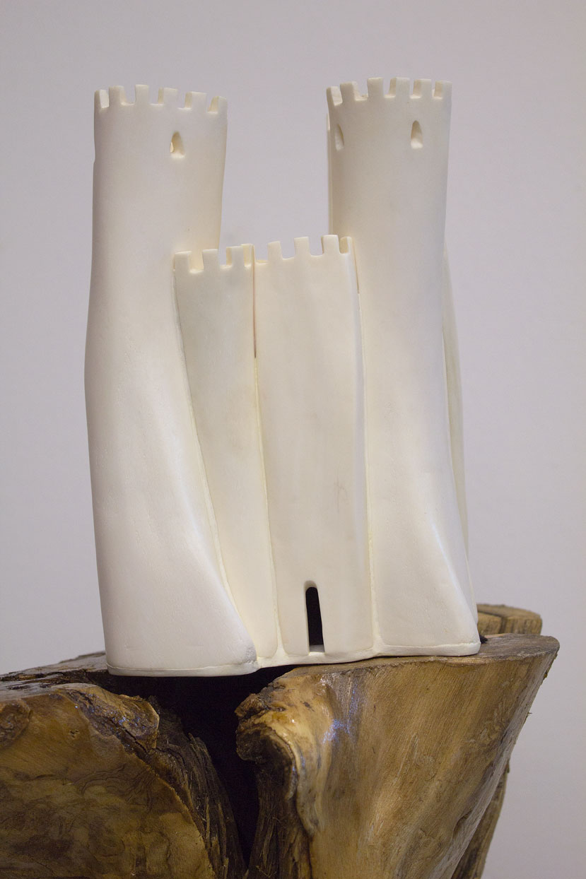 (above) 'Tower,' 2011, bone, wood, clay, 9.5 x 7 x 6 inches