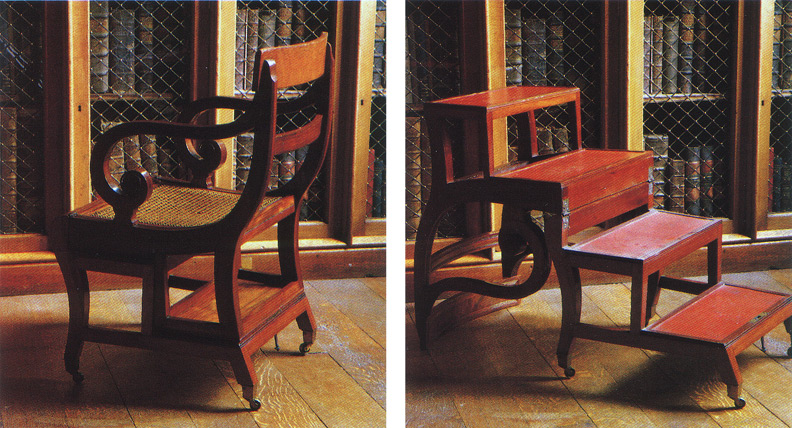 "(above is my inspiration) Ignore the ladder chair and look at the decorative wire grille on the cabinetry. This is the look I was going for. These photos are of Seymour Durst's ""Old York Library"" and can be found in 'At Home with Books.'"