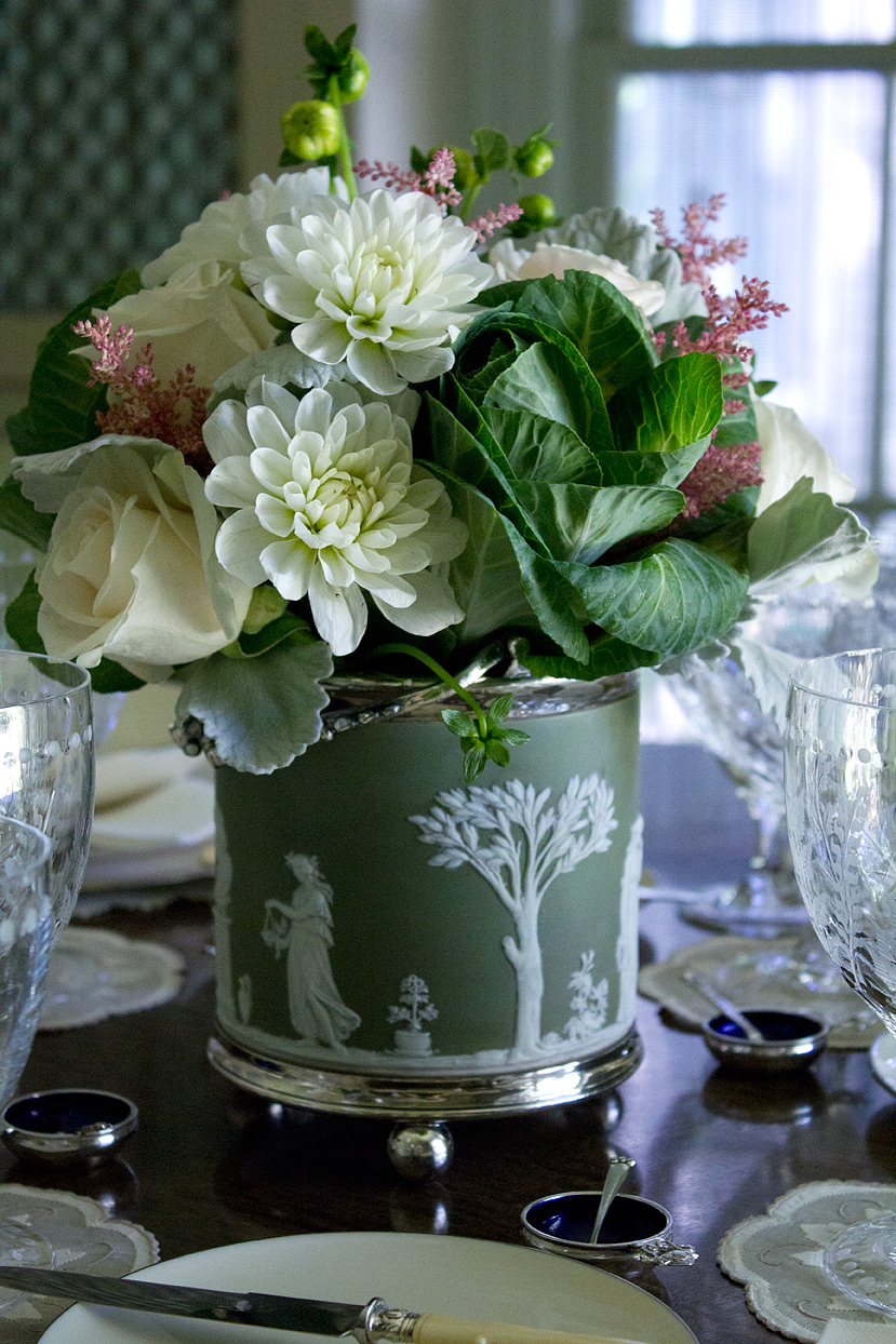 (above) The flower arrangement, created by Cebolla Fine Flowers, is in my maternal grandparents' Wedgwood Jasperware biscuit barrel. The tiny salt cellars are by Georg Jensen, and they too, belonged to my maternal grandparents.