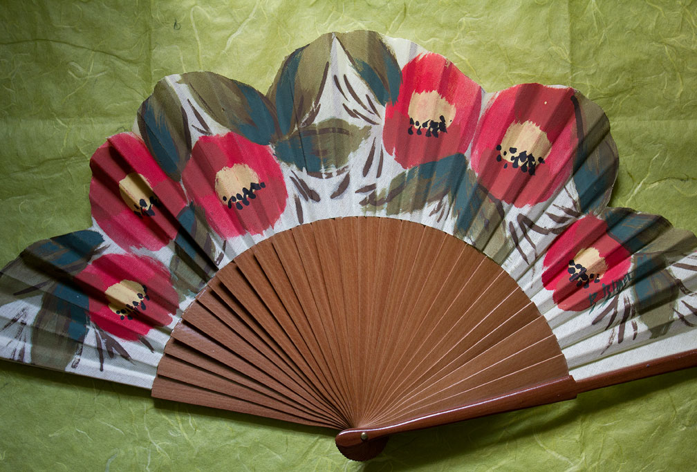 (above) This fan is for special occasions and was discovered on this website. There are four others purchased from this site, but since they are part of my winter collection, they will not be included in this post.