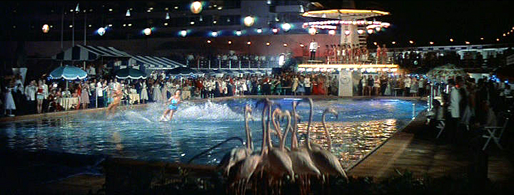 (above) Flamingos and water skiing were a must for any successful pool party back in the good old days.