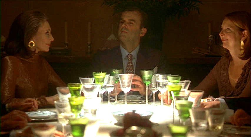 (above) All I notice in this scene are the chartreuse crystal goblets filled with champagne.