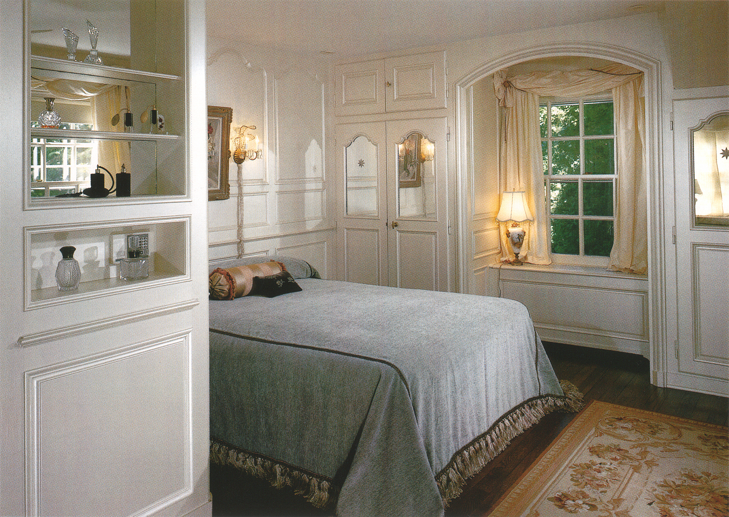 (above) Mrs. Adler's bedroom, as designed by David Adler, was the inspiration for my dressing room's mirrored paneled closet doors.
