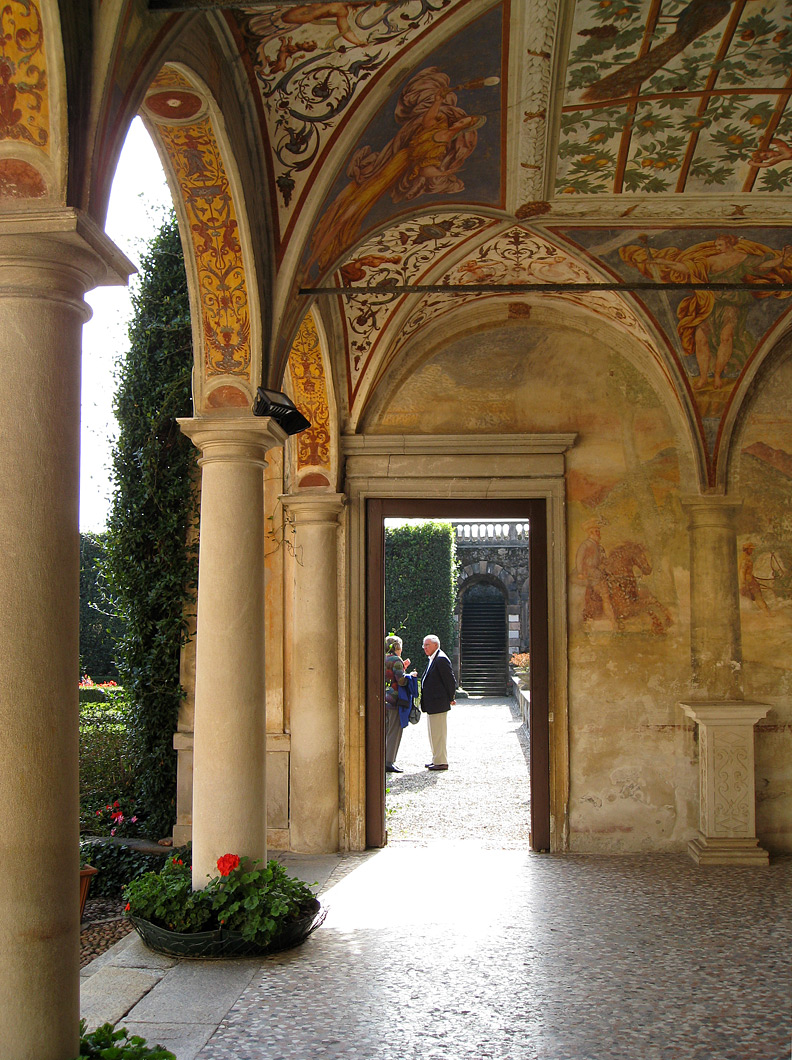 (above) Here's another view of the Villa Cicogna's arcade. All of the frescoes are normally attributed to the Campi brothers of Cremona. The reason the wall frescoes look so faded and worn is because during the seventeenth-century plague the walls had been whitewashed for hygienic reasons and were only discovered in the 1800s.