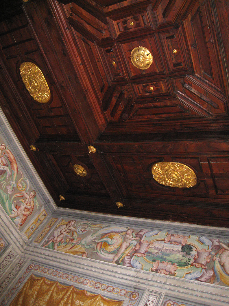 (above) This magnificent original coffer ceiling with its gilded fittings is located in the Fortepiano Room of the Villa Cicogna Mozzoni and up to now has never been touched or restored.