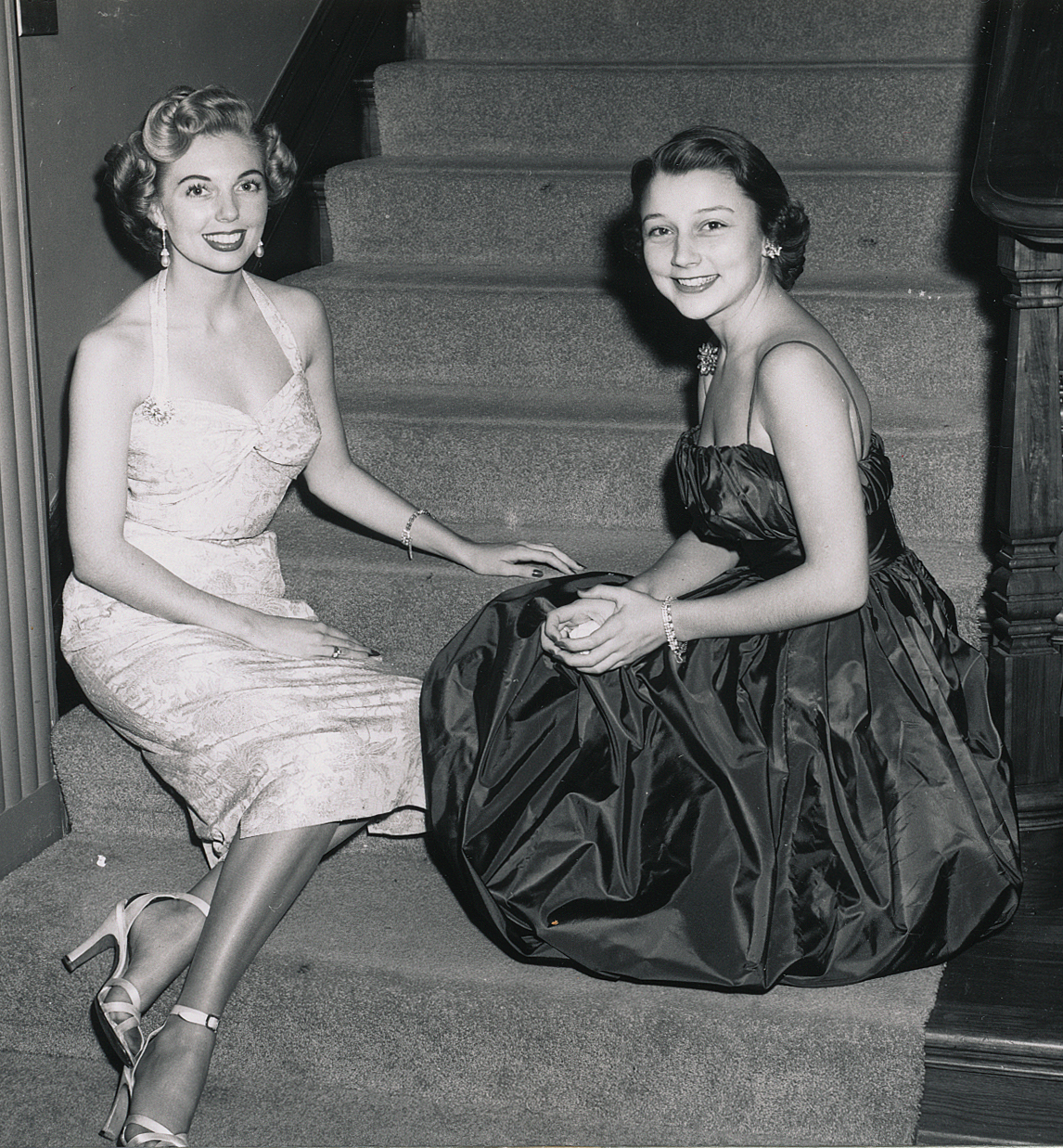 (above left to right) Mary Jo McCorkle and Mary Margaret Lackey at a dinner party given by Mrs. Clint Murchison for my mother and Ann McBee. Mary Jo is Dallas' very own Lana Turner — both sharing a glamorous essence.
