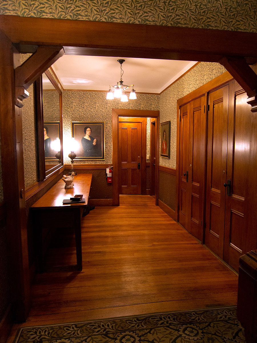 (above) Here we're looking away from the study down the hall that leads to my room which is to the left just beyond the door opening.