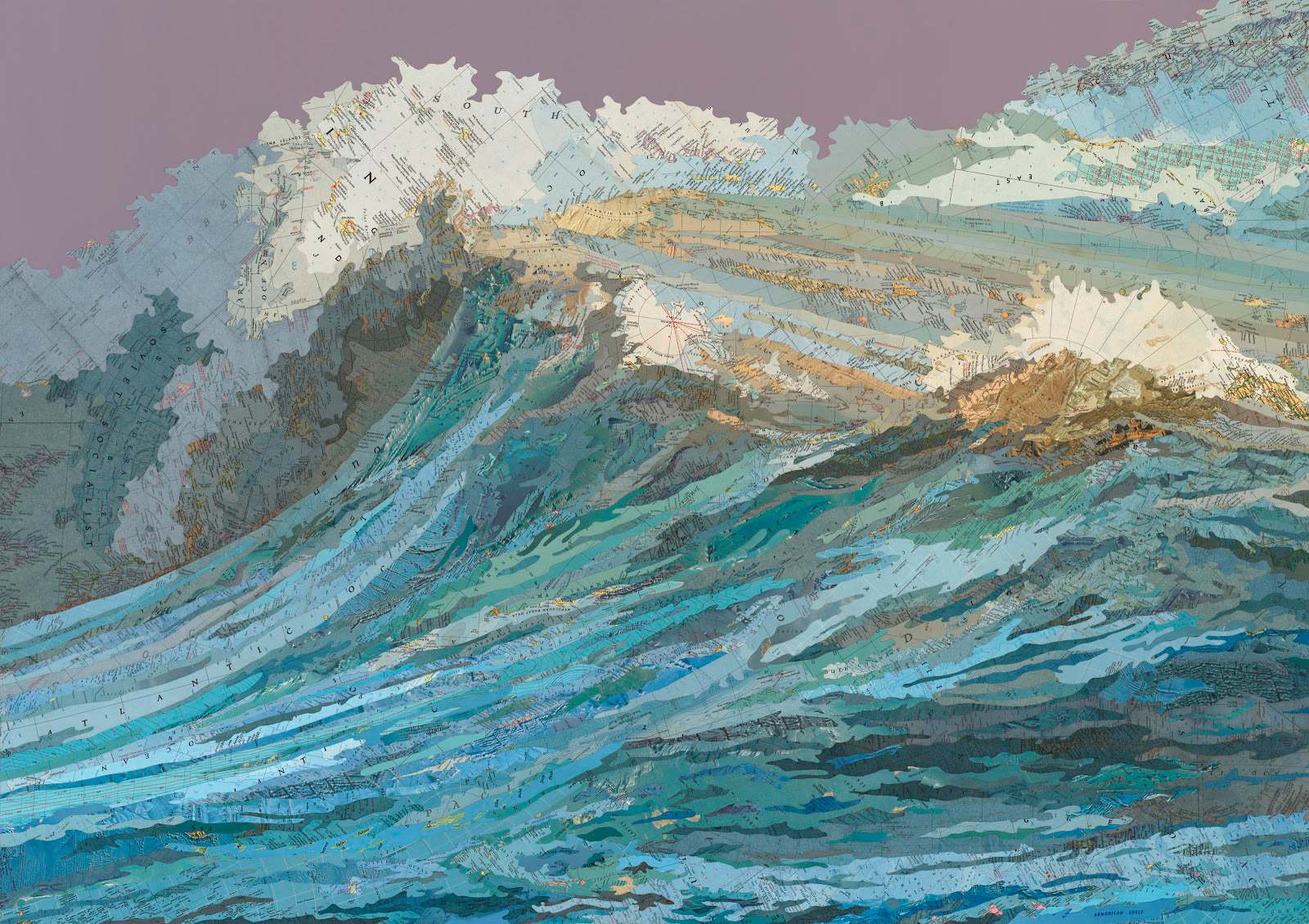 'The Rachel's Wave,' 2011, inlaid maps and acrylic on aluminum panel. Click on it for a larger version.