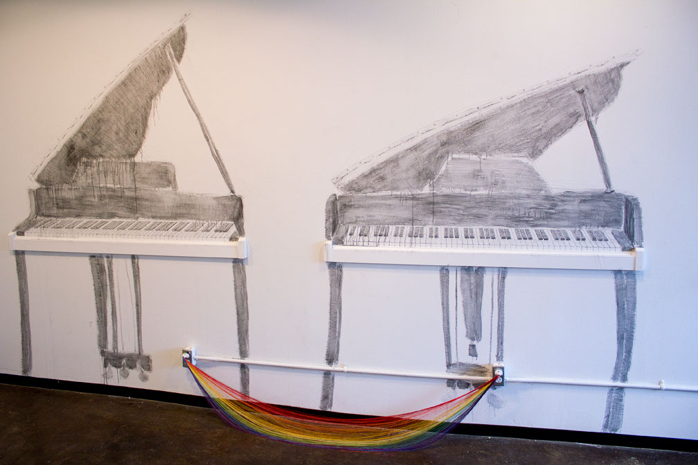 Rebecca Carter's 'The Wrong Perspective,' graphite and wood; 'Dirty Rainbow,' silk thread and electrical plugs
