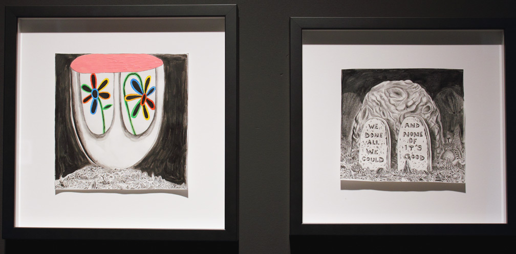 (above left) 'Give Me My Flowers While I Yet Live, version #1,' 2010; (above right) 'We Done All We Could And None Of It's Good,' 2010