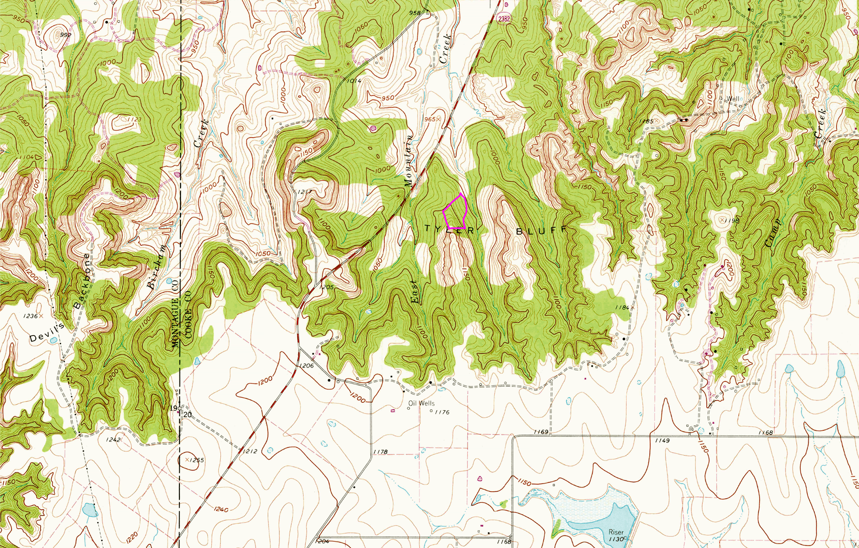 Click this image for a larger version. The pink-lined shape indicates the topographical placement of my acreage outside of Saint Jo, Texas.