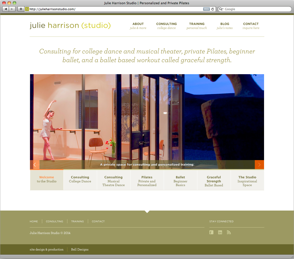 The homepage for julieharrisonstudo.com.