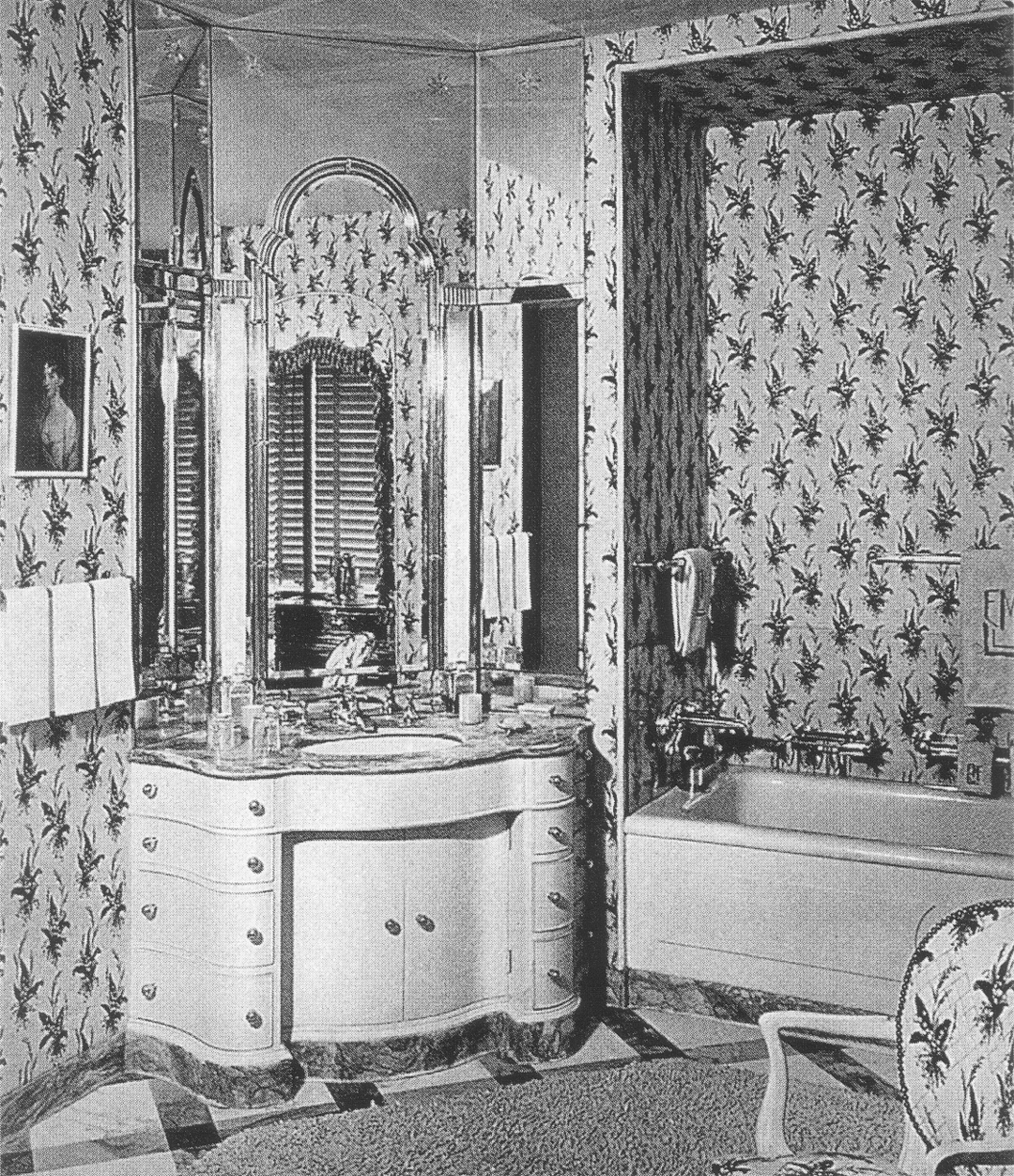 (above) This ornately shaped vanity, from the book 'David Adler, Architect: The Elements of Style' is in the bathroom of the Mrs. Evelyn Marshall Field House, called Easton. David's sister, Frances Elkins, partnered with him on the interiors. Nobody seems to know where he left off and where she began. The Queen Anne-Venetian-style mirror is an often repeated feature used in her designs.
